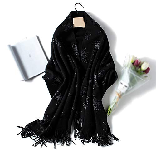 - Pure Wool Ms Scarf Air Conditioning Wrap Shawls,Warm Autumn Winter Gold Dot Print Cloak Scarf,Can Be Used As Perfect (20070Cm),Whiteflower