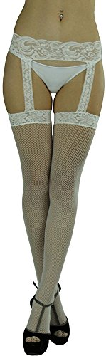 ToBeInStyle Women's One Piece Garter Backseam Fishnet Stockings - White (White Fishnets)