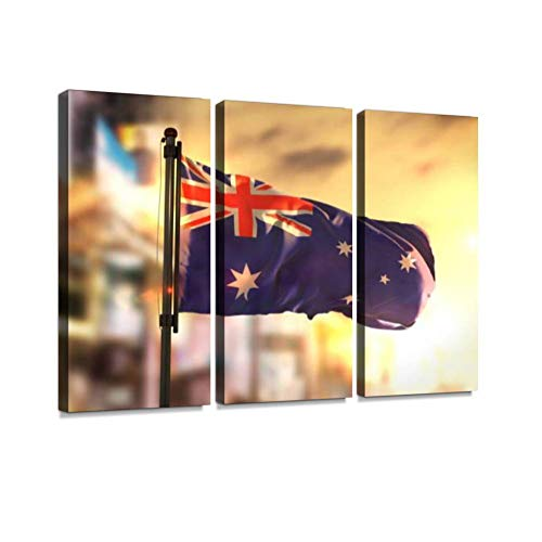 Australia Flag Against City Blurred Background at Sunrise Backlight Print On Canvas Wall Artwork Modern Photography Home Decor Unique Pattern Stretched and Framed 3 Piece