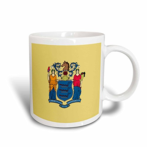 3dRose mug_158390_2 Flag of New Jersey United State of America Liberty Prosperity Coat of Arms Seal Ceramic Mug, 15-Ounce, White (Of Arms State Coat)