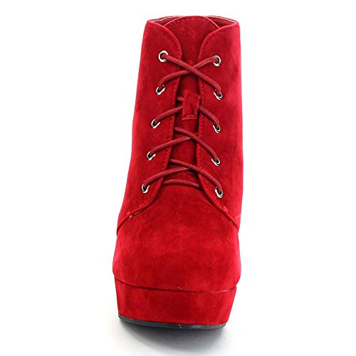 Forever Camille-86 Frauen Komfort Stapeln Chunky Heel Lace Up Ankle Booties rot