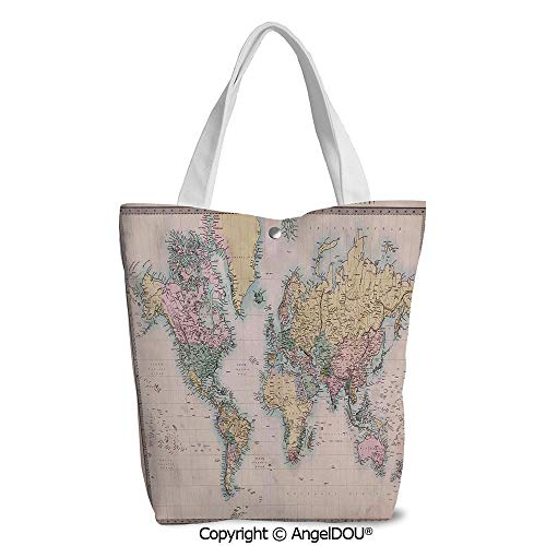 Women portable Canvas Shoulder Shopping bag Original Old Hand Colored Map of the