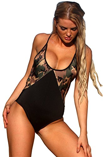 UjENA Cool Sport Black/Camo One Piece Swimsuit - Size: ()