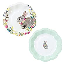 Talking Tables Truly Bunny Floral Rabbit Small Plates in 2 Designs for an Easter Celebration or Children's Party (12 Pack), Multicolor(TSBUNNY-PLATE)