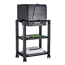 Mount-It! Printer Stand With Three Shelves and Wheels Height Adjustable Riser Organizer