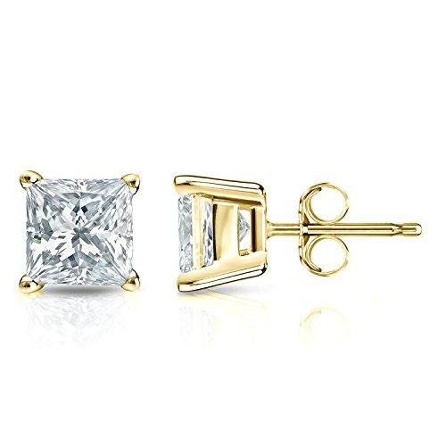 (Diamond Wish 14k Yellow Gold Princess-cut Diamond Stud Earrings (1/5 cttw, J-K, I2-I3) 4-Prong Basket set with Push-Back)