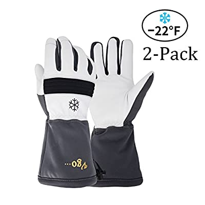 Vgo... High Dexterity Touchscreen Goatskin Leather Ski Gloves,Winter Warm Work Gloves, G200 Thinsulate, Waterproof Insert (2Pairs, Grey, Size 8/M, 9/L and 10/XL)