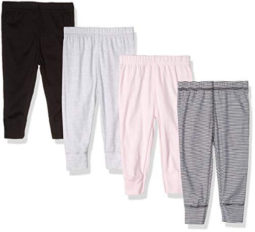 Gerber Baby Girls' 4-Pack Pants, piink Stripe 6-9 Months