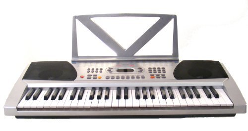 54 Keys Silver Keyboard Electronic Digital Piano and Free Lessons – With notes Holder – with AC Adapter & DirectlyCheap(TM) Blue Medium Pick