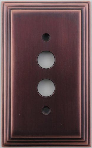 Wall Switch 1 Button (Classic Accents Deco Antique Copper One Gang Push Button Light Switch Wall Plate)