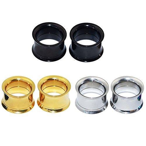 Longbeauty - 3 pares de pendientes de acero inoxidable para dilataciones, varios colores a elegir: Amazon.es: Deportes y aire libre