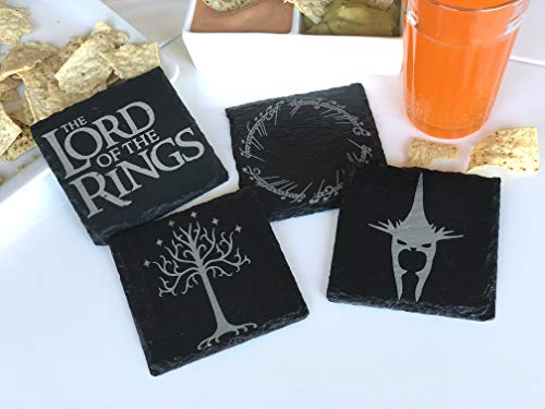 The Lord of the Rings Inspired Symbols Engraved Slate Coaster Set of - Slate Engraved