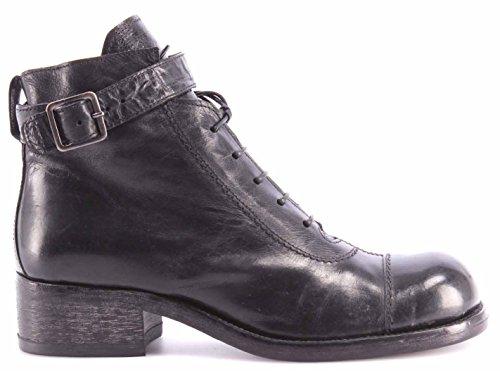 Zapatos Mujer Botines MOMA 71502-WA Shine Nero Cuero Negro Vintage Made Italy