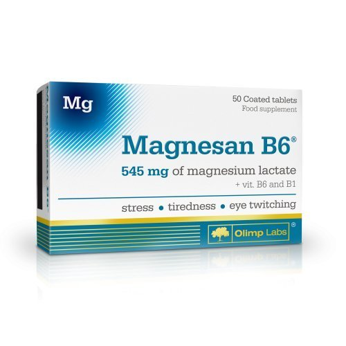 Magnesan B6 - 50 tablets, food supplement - 545 mg of magnesium lactate plus vitamins B1 and B6 in one tablet by Olimp Labs