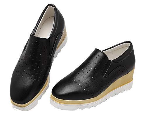 Luccichio Flats GMMDB007043 Nero Tacco Medio Ballet Puro Tirare Donna AgooLar 5wz6q80q