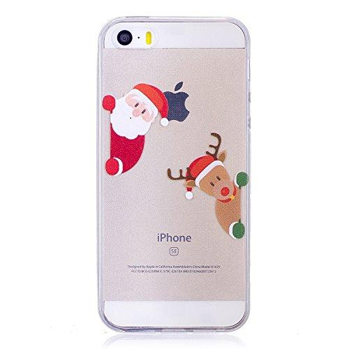 iPhone 5 5S SE Custodia , Moda Babbo Natale E Elk Silicone leggero Morbido TPU Sollievo Sottile Protezione Antiurto Copertura Antiscivolo Resistente Coperture Cover Case Custodia per Apple iPhone 5 5S