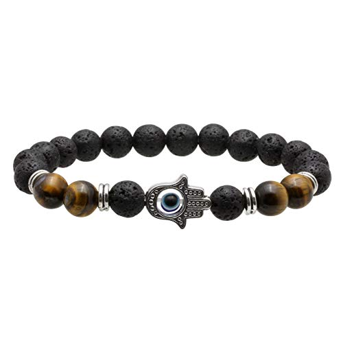 MILAKOO Men Women 8mm Lava Rock 7 Chakras Oil Diffuser Bracelet Natural Stone Beads Bracelet Bangle