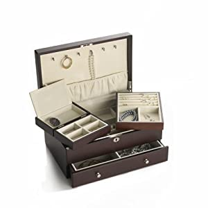 Wallace Dark Walnut Jewelry Box with Mini Box and Drawer
