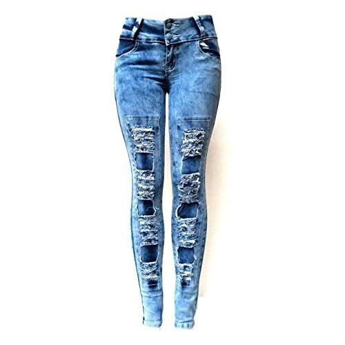 ELLA Juniors Acid Wash BLUE Denim JEANS Destroy Skinny Ripped Distressed Pants