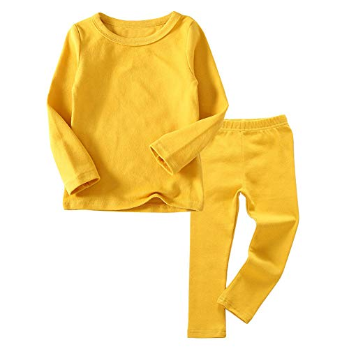 Toddler Boys Girls Thermal Underwear Long Sleeve T-Shirt Leggings 2Pcs Kids Winter Base Layer Set, (Yellow,7Years)