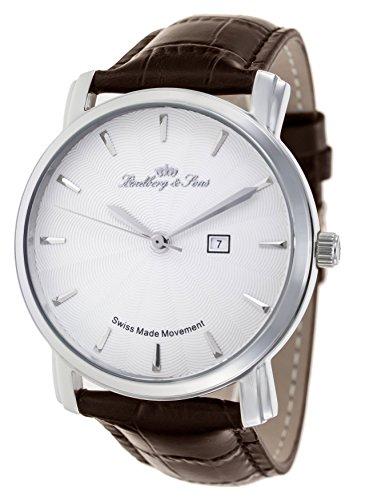 Lindberg & Sons Herren-Armbanduhr Quarz Schweizer Werk Analog Leder Braun - LS15SA5