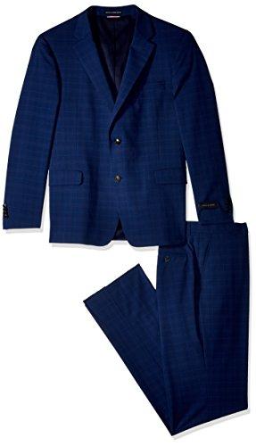 Tommy Hilfiger Men's Modern Fit Performance Suit with Stretch, Blue Plaid, 46 Long