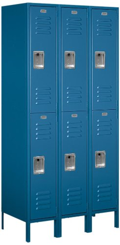Salsbury Industries 62368BL-U Unassembled Standard Metal Locker with Double Tier, Blue