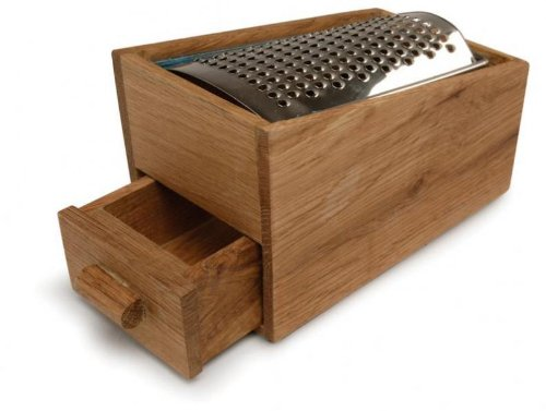 Sagaform Stainless Steel Cheese Grater with Oak Cheese Catcher - Oak Cheese
