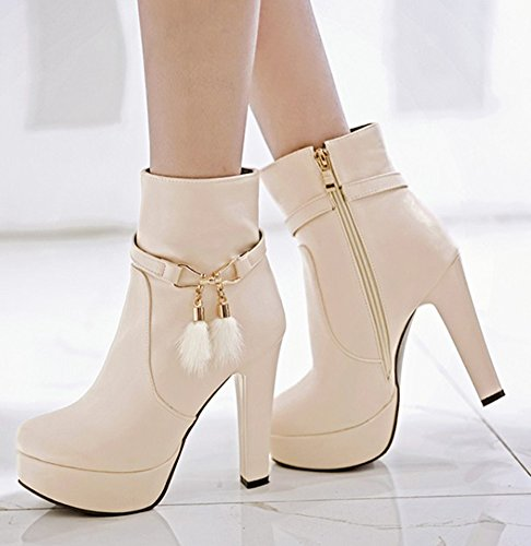 Aisun Womens Fashion Chunky High Heel Dressy Platform Short Boots Inside Zip Up Round Toe Ankle Booties With Zipper Beige F5gKBsf8