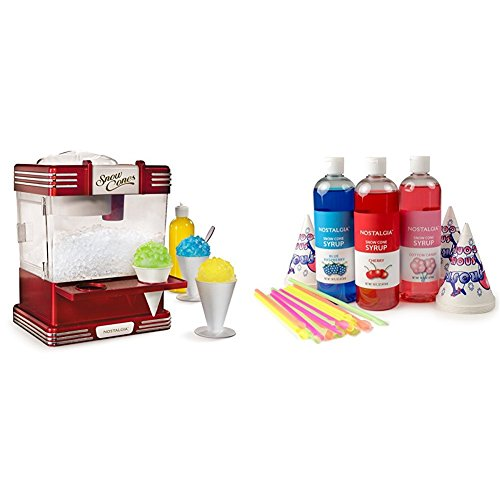 Nostalgia RSM602 Retro Snow Cone Maker with Premium Snow Cone Syrup Party Kit (Accessories Sno Cone)