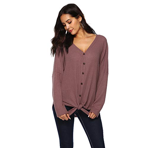 Smile fish Womens Henley Shirts Long Sleeve Blouse Front Knot V Neck Button Down Loose Tunic Tops (S, Burgundy)