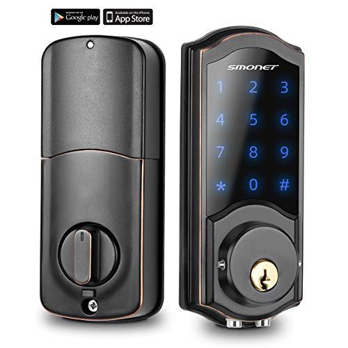 [2020 Newest] Smart Deadbolt, SMONET Bluetooth Door Lock Keyless, Touchscreen Keypad, Auto Lock, Remote Sharing, Send…