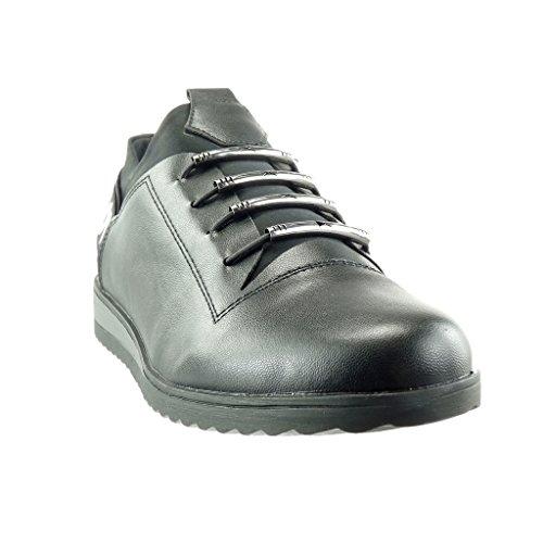 Angkorly - Scarpe da Moda Sneaker donna lucide Tacco zeppa 2.5 CM - Nero