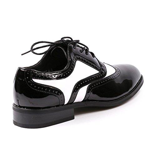 Miko Lotti TPCK01103 Mens Black White Patent Tuxedo Perforated Wing Tip Lace Up Oxford Dress Shoes Runs One Full Size Big NClPX6hu