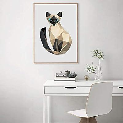 Geiqianjiumai Polígono triángulo Escalera Gatito Arte impresión Imagen de la Pared Abstracto polígono Animal Gato Lienzo Pintura decoración del hogar Pintura sin Marco 50X60 cm: Amazon.es: Hogar