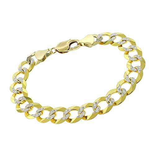14k Yellow Gold 11.5mm Solid Cuban Curb Link Diamond Cut Two-Tone Pave Bracelet Chain 8.5'' by In Style Designz
