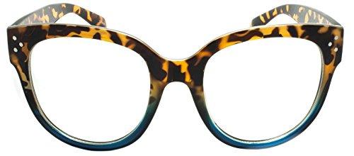 Two Tone Brown Plastic Sunglasses - EGO Eyewear 3207 Sunglasses Plastic oversized round two-tone frame Clear lens