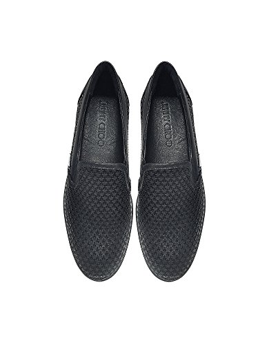 JIMMY-CHOO-MENS-GROVEAMRBLACK-BLACK-LEATHER-SLIP-ON-SNEAKERS