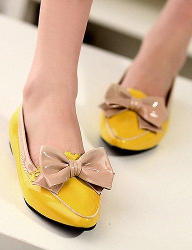 Punta Yellow amarillo Cn36 Talón Piel Pdx Eu36 Negro Toe Uk4 de Zapatos rojo Flats Plano Mujer Casual us6 De Sintética Hwq8ZnOgq