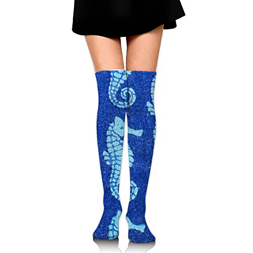 4e0fd093a1183 RobotDayUpUP Sweet Home Seahorses Doormat Womens Long Socks,Cozy Girls  Skirt Stockings Knee Thigh Socks for Running Soccer Sports Dance Yoga ...