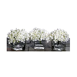 Vickerman Set of 3 White Hydrangea Artificial Floral Arrangements in Clear Vases 75