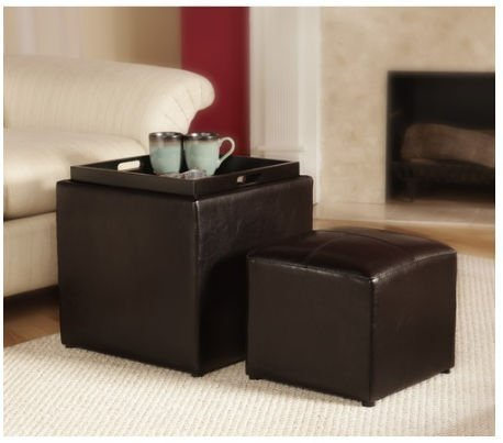 Park Avenue Single Ottoman with Stool Espresso by Convenience Concepts by Convenience Concepts