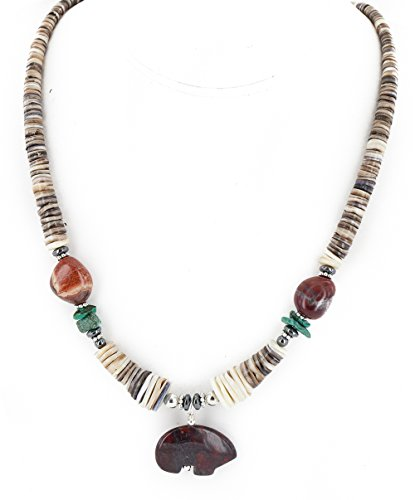 Certified Authentic Bear Navajo .925 Sterling Silver Natural Turquoise Graduated Heishi Red Jasper Hematite Native American Necklace