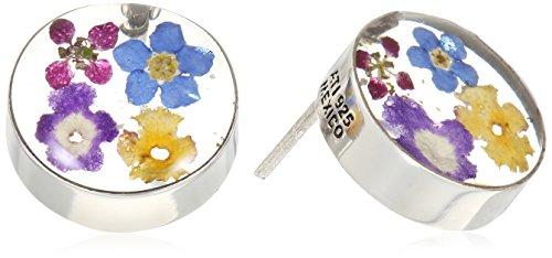 Sterling Silver Pressed Flower Multi-Round Post Stud Earrings