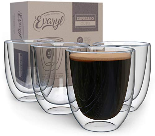 Double Wall Espresso Cups Set - Insulated Coffee Shot Glasses - 2.6oz, Set of 4 - Demitasse Gift Box