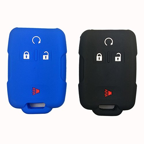 2Pcs Coolbestda Rubber 4buttons Key Fob Cover Case Protector Remote Control Shell Keyless Jacket for GMC Sierra Yukon Cadillac Chevrolet Silverado Colorado M3N32337100 13577770 13577771 Black Blue