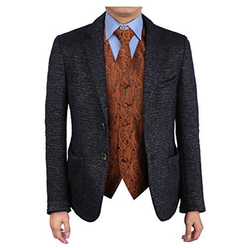 Epoint EGD1B02A-3XL Brown Paisley Vest Microfiber Dress Tuxedo Vest Neck Tie Set Inspire For ()