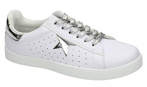 Spot On Womens Synthetic Leather Skate Shoes White/Silver 5Z2XeTF