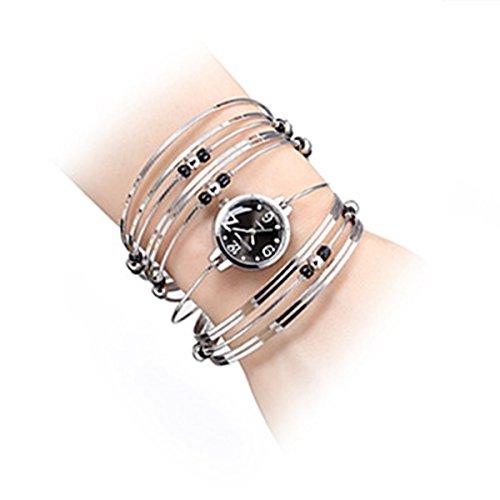 Womens Quartz Bracelet Watch Fashion Analog Multilayer Stainless Steel Ladies Jewelry Watches Women Wristwatch on Sale (Black) from AEHIBO