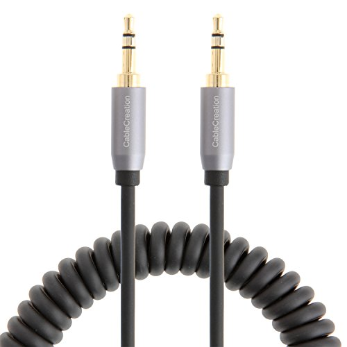 CableCreation Coiled 3.5mm Stereo Audio Cable, Aux 3.5 Audio Cord for iPhones, iPads, Samsung and other 3.5mm DC plug Port Device, 1~3FT, Black